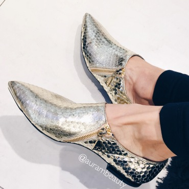 Geo Gold Pointed Loafers